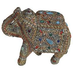 Wooden Stone Elephant With Metal Work