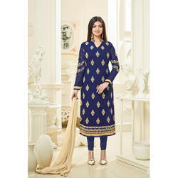 Cotton Navy Blue Color Stitched Salwar Suit