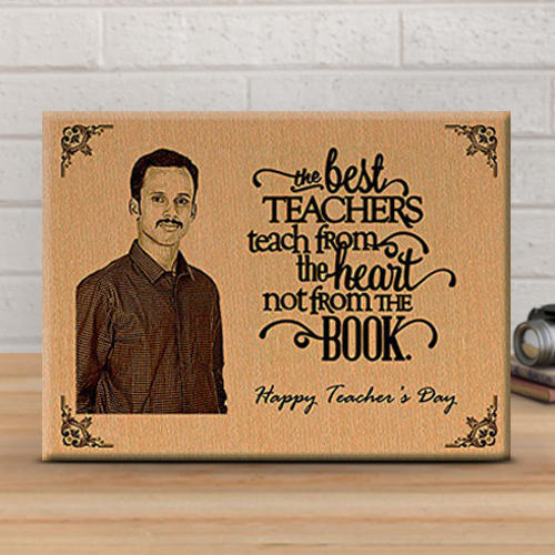 Personalized Wooden Engraved Photo Plaque for Teacher at Rs 770 ...