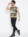 Men Sleeveless Round Neck Camouflage T Shirt