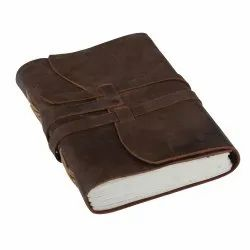 Leather Cover Journal Notebook with Latch and Double Stone Blank Dairy