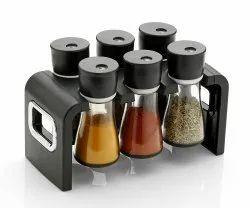 Multipurpose Revolving Plastic Spice Rack Masala Organizer - 6 Pcs Set
