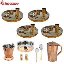 Choozee -Set of 4, Stainless Steel Copper Thali Set with Serveware