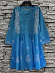 3/4th Sleeve Ayurvastram Bibab Pure Cotton Hand Embroidered Tunic Kurti