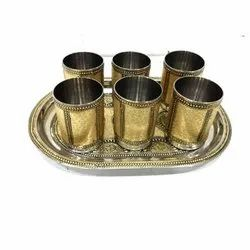 Stainless Steel SS Rexine Plating Tray Set, Packaging Type: Box