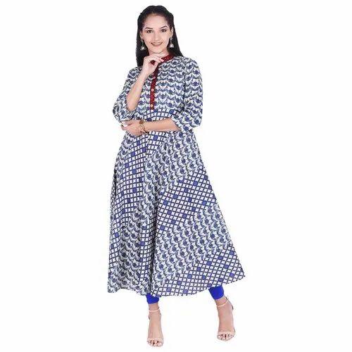 Lavanya Cotton Indigo Printed Designer Kurti