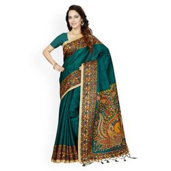 Green Party Wear Printed Bhagalpuri Saree, 5.5 m (separate blouse piece), With Blouse Piece