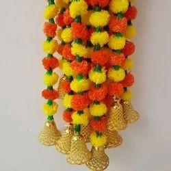 Multicolor Plastic Artificial Marigold Flower String Door Hanging Approx 4.5 ft Length