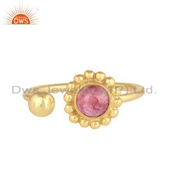 Pink Tourmaline Gemstone Designer 925 Silver Gold Plated Rings
