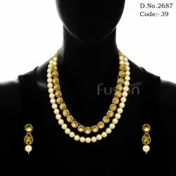 Antique Traditional Indian Designer Stone Pearl Necklace Set