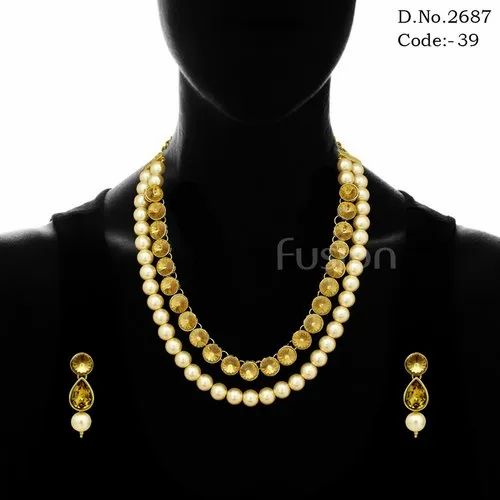 Golden Party Wear Antique Traditional Indian Designer Stone Pearl