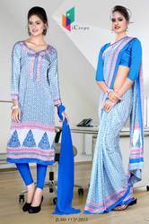 Light Blue and Dark Blue Italian Crepe Uniform Saree Kurti Combo