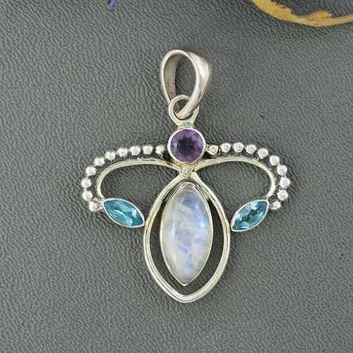 Rainbow Moonstone, Blue Topaz & Amethyst Pendant