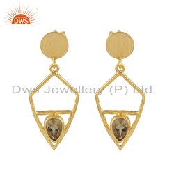 Natural Citrine Gemstone Designer Yellow Gold Plated Silver Earring