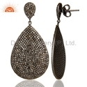 Pave Set Diamond Womens Earrings Jewelry