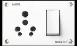 Press Fit - Glory 3-in-1 6/16 Amp. Indian Switch Socket Combined