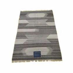 Cotton Grey and White Rectangular Handloom Carpet