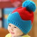 Blue And Red Girl & Boy Kids Woolen Casual Skull Cap, Winter