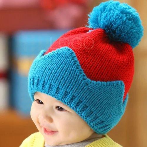 751e00e0fa936 Blue And Red Plain Kids Woolen Caps, Rs 85 /piece, V. P. Oswal ...