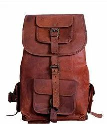 Brown Solid Leather Satchel Bag