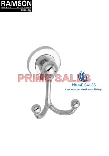 Ramson Silver SS Double Wall Hook for Cloth Hanging