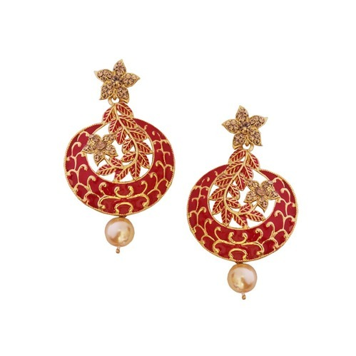Gold Plated Meenakari Design Pearl Drop Chandbali Earring