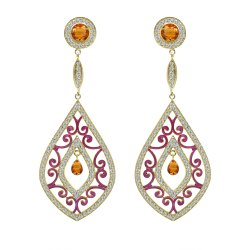 Gemstone & Diamond Silver And Gold Earrings