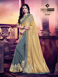 Indian Women Gold And Grey Satin Georgette Saree