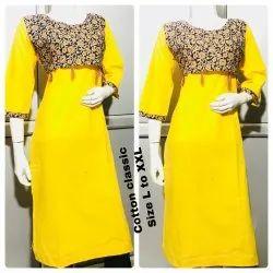 Casual Wear 3/4th Sleeve Ladies Casual Cotton Kurti