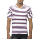 Clifton Men's Small Stripes V-Neck Half Sleeve T-Shirt