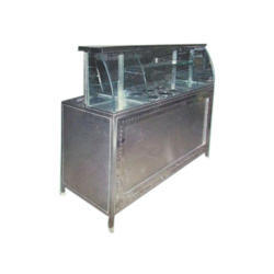 Royal Kitchen Equipment Glass Steel Chat Display Counter