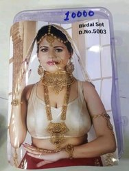 As Shown In Image Golden BRIDAL JEWELLERY SET, Size: Free