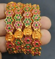 Traditional Alloy Steel Matte Gold Plated Bangles
