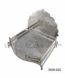 Pure Silver Designer Engraving God Singhasana