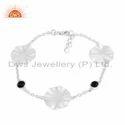 925 Sterling Silver Natural Black Onyx Wavy Disc Bracelet