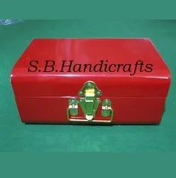 Powder Iron Trunk Yellow Large Metal Trunk With Gold Clasps