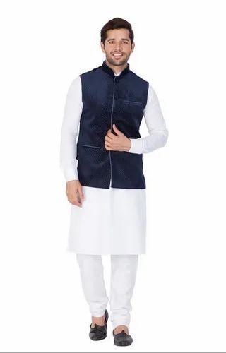 12a72aafb Vastramay Men White Cotton Kurta Modi Jacket And Pyjama Set (  Vasmkpwh014nmjt014bu )