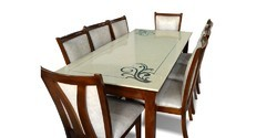 Furnstyl Marina 8 Seater Dining Table With Marble Top