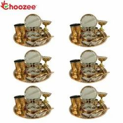 Choozee - Copper Thali Set, Set of 6 (60 Pcs) Plate, Bowl, Spoon,Glass & Ice-Cream Cup