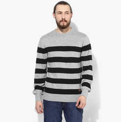 Gray Striped Raglan Fit Crew Neck Sweater