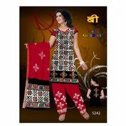 Cotton Casual Wear Ladies Batik Unstitched Salwar Suit, Handwash