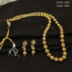 Antique South Indian Moti Studded Mala Necklace Set