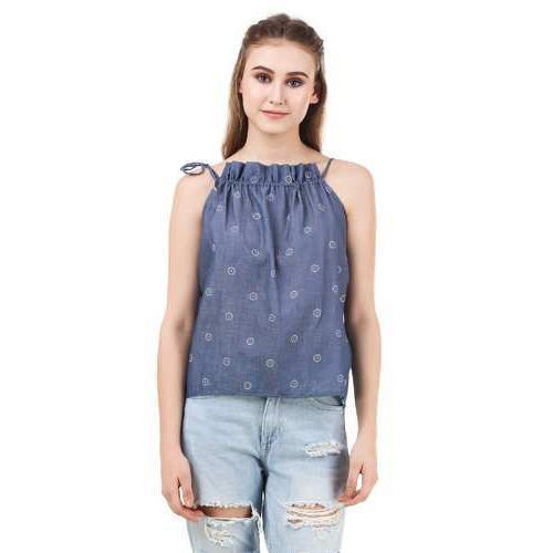 Cotton Printed Sleeveless Summer Ladies Top, Size: S, M &  L