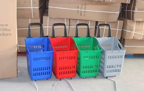 Plastic Shopping Basket 4 Wheeled 70Ltr