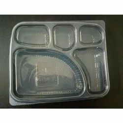 5 Compartment Black Tray With Lid