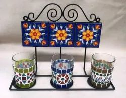 Iron Ceramic Hanger with Mosaic Glass Candle Stand