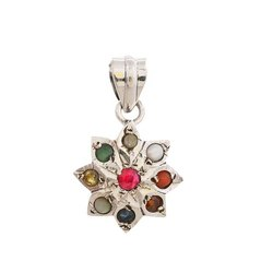 Navratna Pendent With Natural Gemstones Silver