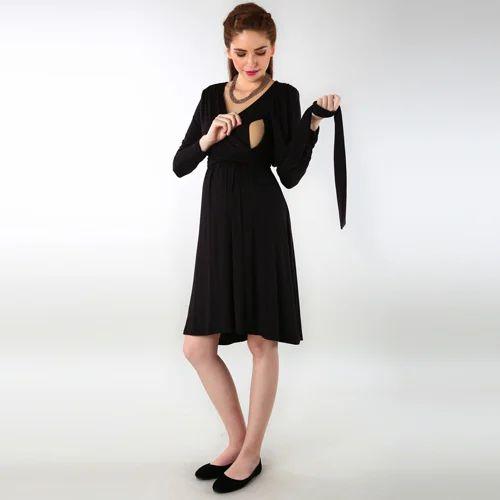 0038ff8db9178 Classic Black Wrap Tie Maternity & Nursing Dress at Rs 2299 /piece ...