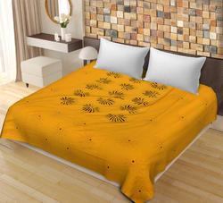 Yellow Color New Patch Work Cotton Double Bedsheet