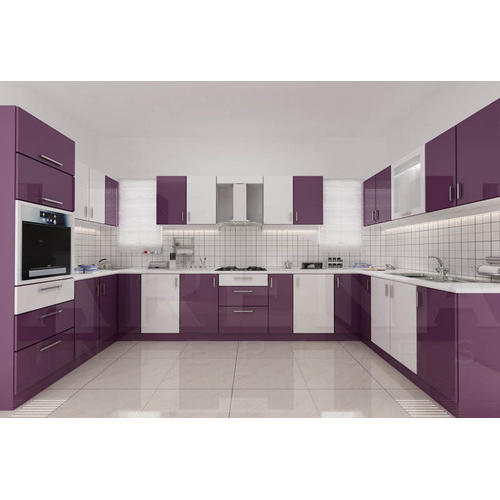 White Purple U Shaped Modular Kitchen